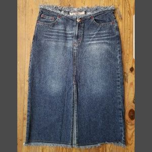 PARIS BLUES Frayed Denim Skirt
